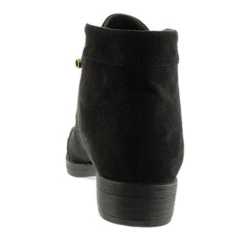 Angkorly - damen Schuhe Derby-Schuh - Desert Boots - Biker - Nieten - besetzt - Stern Blockabsatz 3 CM Schwarz