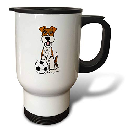 (3dRose All Smiles Art - Pets - Cool Funny Wire Fox Terrier Puppy Dog Playing Soccer Cartoon - 14oz Stainless Steel Travel Mug (tm_307679_1))