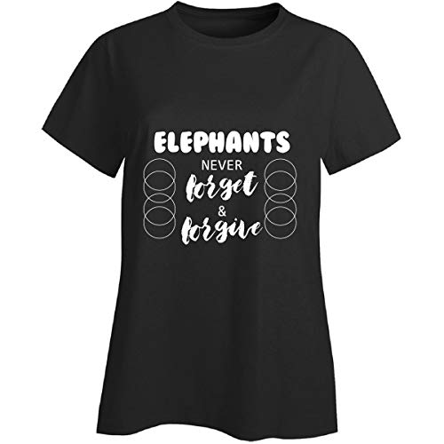 Elephants Never Forget and Forgive Design Describe Nature - Ladies T-Shirt