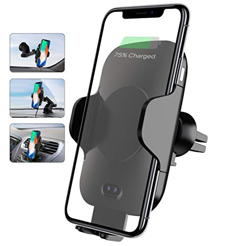 EVOQUIP Wireless Car Charger Mount Auto Clamping Fast Charging 10W/7.5 Dashboard Vent & Windscreen Suction Grip Included CE Certified for iPhone Xs MAX/XS/XR/X/8/8+,Samsung - Cell Wifi Gps Phone