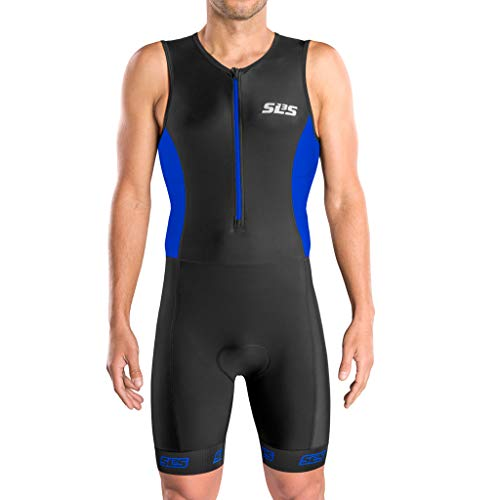 SLS3 Men`s Triathlon Suit FRT | Tri Suit | Skinsuit Trisuit | Great Fit and Comfortable | Ideal from Sprint to 1/2 Ironman (Black/Baltimore-Blue, Large)