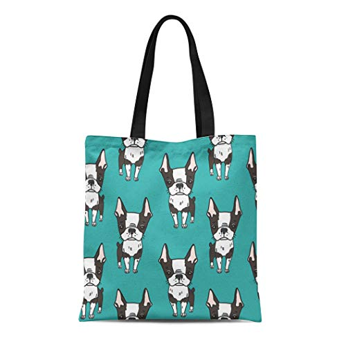 (Semtomn Cotton Canvas Tote Bag Pattern Cute Boston Terrier Dogs Cartoon Black and White Reusable Shoulder Grocery Shopping Bags Handbag Printed)