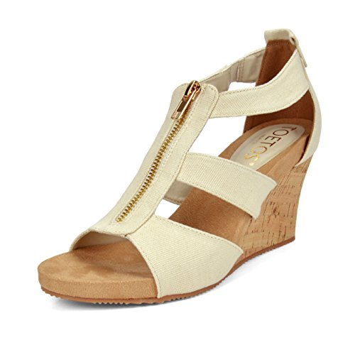 TOETOS Women's Solsoft 2 Beige Mid Heel Platform Wedges Sandals - 5 M US (Thong Platform Shoes)