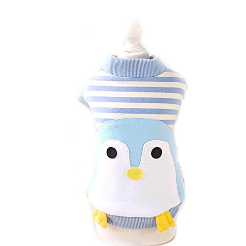 Cute Halloween Dog Cat Penguin Costume Outfits Clothes Winter Warm Fleece Small Dog Pet Coat Jacket Hoodie (L, Blue)