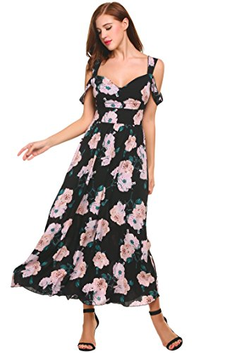 Teamyy Vestido largo estampado sin espalda vestido plisado casual de V cuello para las mujeres Negro