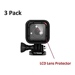 HD Ultra Clear Premium LCD Lens Protector Screen Covers (Pack of 3) with Provided Soft Microfiber Cleaning Cloth for GoPro Hero 4 Session GoPro Hero 5 Session Accessories