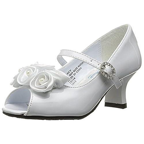 Dress shoes with flowers amazon swea pea lilli girls peep toe dress shoe with satin flowers white 13 mightylinksfo