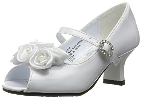 Swea Pea & Lilli Girl's Peep Toe Dress Shoe with Satin Flowers White 12