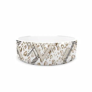 "85%OFF KESS InHouse Victoria Krupp ""Abstract Animal Chevron"" Beige White Digital Pet Bowl, 7"" Diameter"