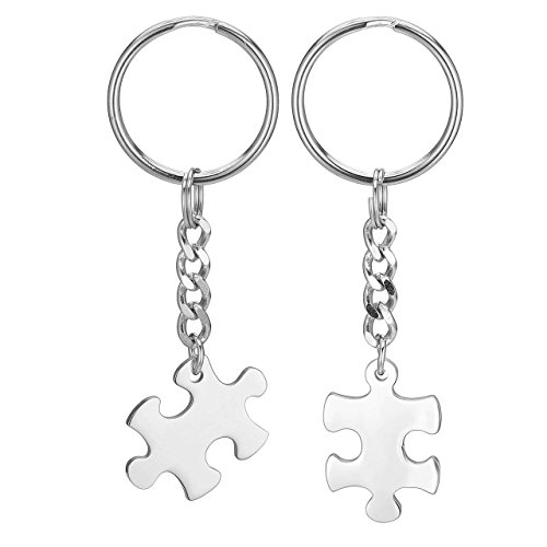 Jovivi 2pcs Stainless Steel Puzzle Couples Keychain Jewelry Set - Valentines Day