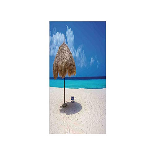 3D Decorative Film Privacy Window Film No Glue,Seaside,Parasol and Chair Sunny Day in Romantic Beach Caribbean Paradise Image,Ivory Aqua and Blue,for Home&Office ()