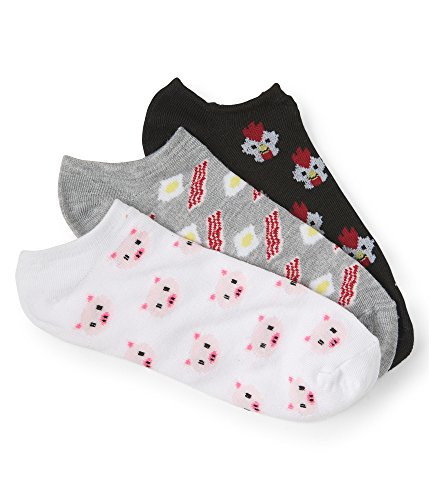 Aeropostale 3-Pack Chicken, Breakfast & Piggy Ankle Socks White