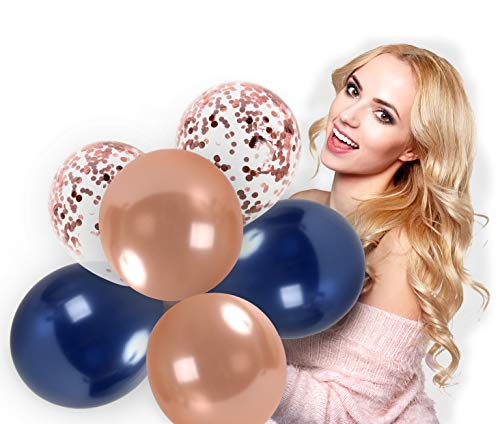 Treasures Gifted Navy Blue and Rose Gold Confetti Balloons Party Decoration for Valentines Bridal Shower Wedding Engagement Sweet 16 Birthday Graduation Supplies (44 Pack) -