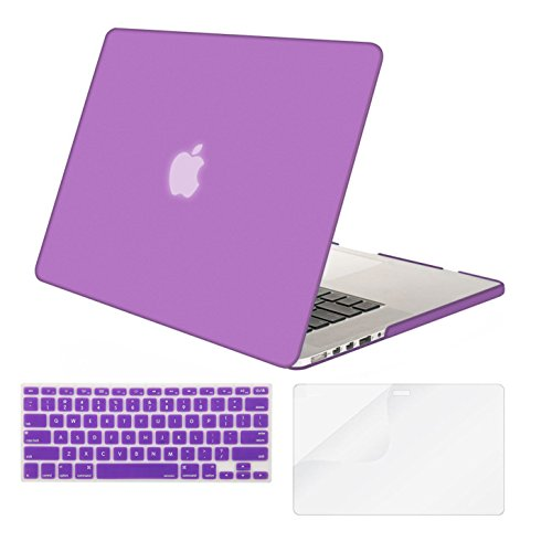 Mosiso Plastic Hard Case with Keyboard Cover with Screen Protector for Macbook Pro Retina 13 Inch No CD-ROM (A1502/A1425), Light Purple