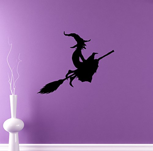 Witch on Broomstick Wall Decal Halloween Party Vinyl Sticker Holiday Home Interior Removable Murals Wall Graphics 25(hlw)]()