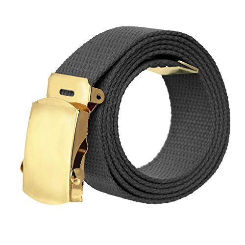 Canvas Military Style Belt with Gold Buckle – (Designer Style Belt Buckle)