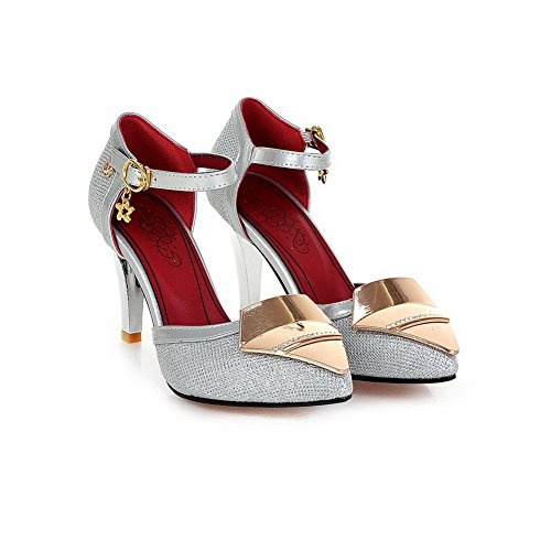 BalaMasa Ladies Pointed-Toe Studded Rhinestones Metal Buckles Soft Material Pumps-Shoes Silver yl940JevV2