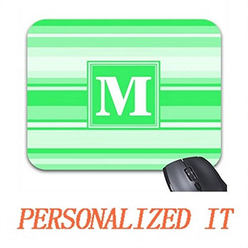 Monogram Spring Green Stripes Mouse Pad Trendy Office Desk Accessory 9.7 x 8.7