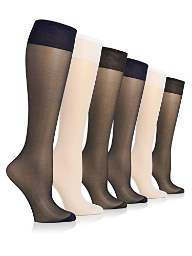 Queen Size Lightweight And Durable Stretch No Bind Band All Day Sheers Trouser Knee High With Reinforced Toe For Everyday Wear - 6 Pack, Assorted, Plus Size (Knee High Lightweight Stockings)