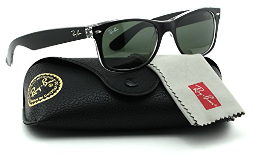 Ray-Ban RB2132 New Wayfarer Color Mix Unisex Sunglasses (Black on Transparent Frame/Green Lens 6052, - Men Ray Ban Wayfarer On