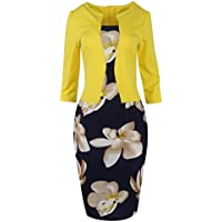 babyonline las mujeres Colorblock Wear a trabajar Business Party Bodycon Vestido De Una Sola Pieza