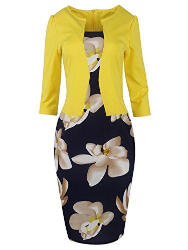Women Wear to Work Business Party Bodycon One-Piece Dress (Yellow,2XL)