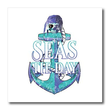3dRose Macdonald Creative Studios - Nautical - Vintage Colors Nautical Anchor and Pirate Skull, Seas The Day. - 8x8 Iron on Heat Transfer for White Material - Anchor Transfers On Iron