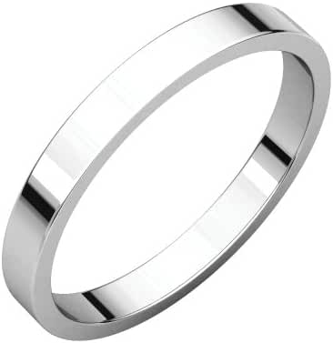 Platinum 2.5mm Flat Band, Ring Size 5.5
