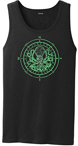 Ladies V-neck 1x1 Rib T-shirts - Joe's USA Koloa Surf Octopus Logo Heavyweight Cotton Tank Top-Black/green-3XL