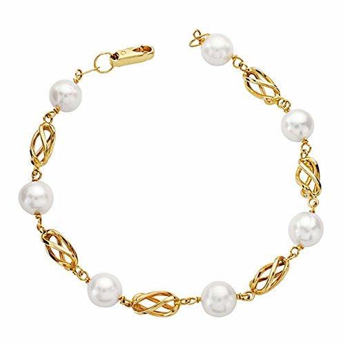 Bracelet 18k Les perles d'or et 19.5cm cage. [AA2708]