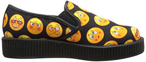 T.U.K. Shoes Womens Slip On Emoji Print Viva Low Sole Creeper Black