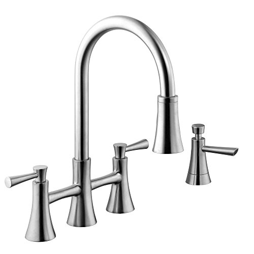 Faucet Bridge Two Handle Kitchen (Schon 67065-0108D2 925 Series 2-Handle Pull-Down Bridge Sprayer Kitchen Faucet with Soap Dispenser, Stainless Steel)