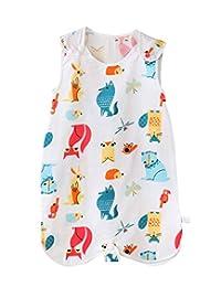 FEOYA Infant Baby Summer Wearable Blanket Thin Soft Breathable Absorbent Cartoon Vest Sleeping Sack