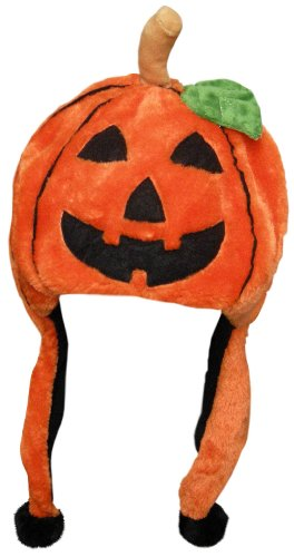 [Halloween Pumpkin Dangle Hat with Pomsl] (Jumbo Hip Hop Adult Hat)