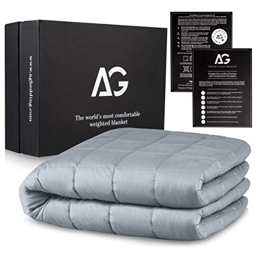 AG Adults Weighted Blanket 20 lbs | 48'' x 72'' | Heavy Blanket for Adults, Cooling Blanket | Calming Weighted Blanket | Heavy Fleece Blanket, Luxury Cotton Material with Glass Beads