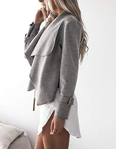 Down Collar Open Front Coat Outwear RkBaoye Blouse Womens Top Turn Grey Woolen xcHXwOqaA