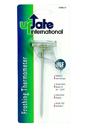 Update International THFR-17L Dial Frothing Thermometer with Chip, 8.25