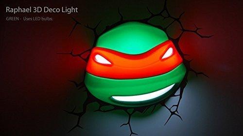 - 3D Deco Light ~~ Teenage Mutant Ninja Turtles / RAPHAEL ~~ Looks like Raphael the Turtle has broken through the wall! ~~ Games Room / Kids Room