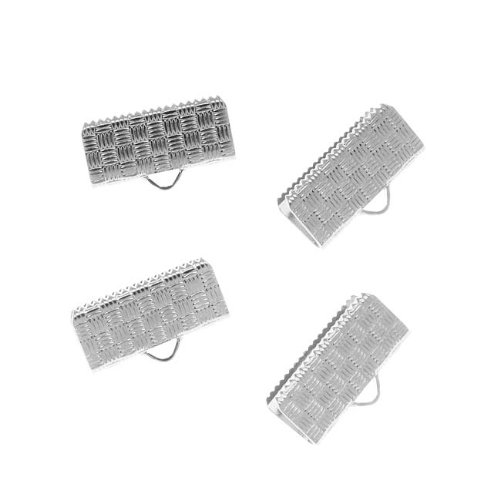 (Beadaholique Cord Ends, Ribbon Pinch Crimp with Woven Texture 16.5mm, 4 Pieces, Silver Plated)