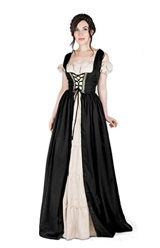 Boho Set Medieval Irish Costume Chemise and Over Dress (2XL/3XL, Black) -