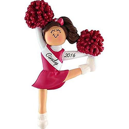 Cheerleader in Red Uniform: Brown Hair - Personalized Christmas Ornament - Handpainted Resin - 5