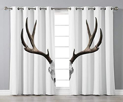 Thermal Insulated Blackout Grommet Window Curtains,Antlers Decor,A Deer Skull Skeleton Head Bone Halloween Weathered Hunter Collection Decorative,,2 Panel Set Window Drapes,for Living Room Bedroom Kit