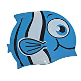 Dianoo Children's Waterproof Earmuffs Swim Cap with High Quality Silicone Cartoon Pattern Swimming Cap Children Swimming Cap(Blue + small eye fish)