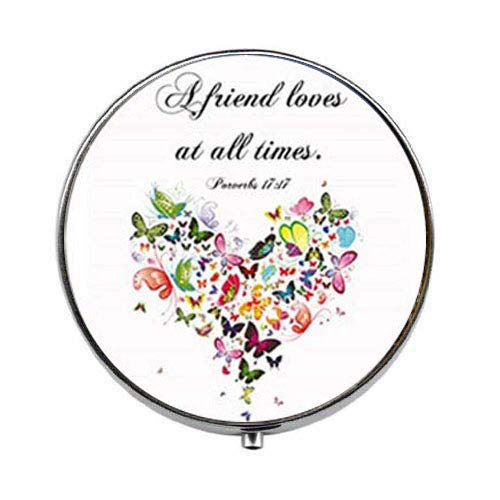 Bible Verse Proverbs 17:17 A Friend Loves at All Times Scripture Quote - Art Photo Pill Box - Charm Pill Box - Glass Candy Box (Friends Love At All Times Bible Verse)