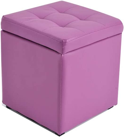 Visual Taste Tufted Leather Square flip top Storage Ottoman Cube Foot Rest for Living Room Bedroom The Door ???-Purple 303035CM
