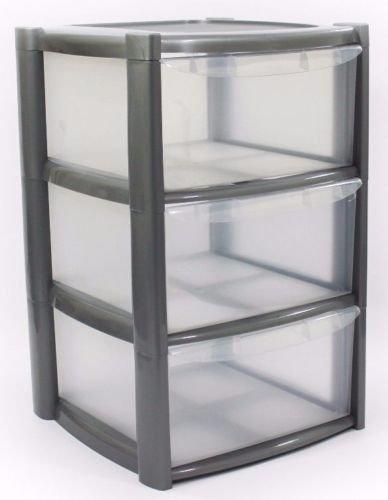 Plastic Storage Drawers - Large - 3 Drawers (Pink) Viss