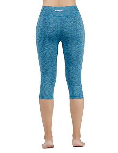 "ODODOS Women's Mid Waisted Tummy Control Yoga Capris,19"" Inseam Leggings with Inner Pockets"