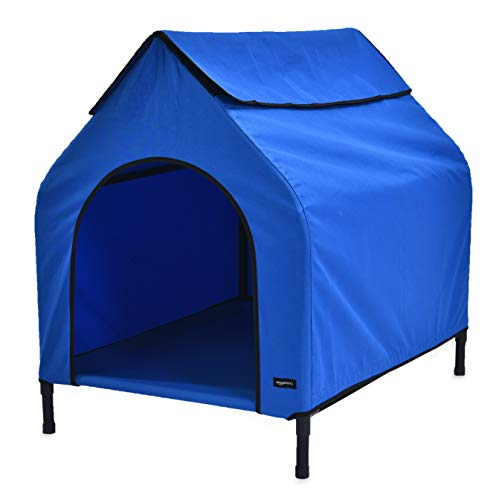 (AmazonBasics Elevated Portable Pet House - Large, Blue)