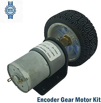 Wheel Motor Gear SENRISE DC 12V 1600RPM Encoder Gear with Mounting Bracket for Smart Car Robot Pack of 1