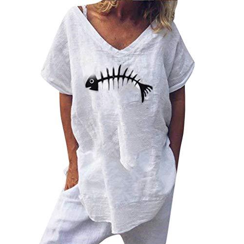OTTATAT T-Shirts, Women Blouse Top Short Sleeve High Heels Printed Beach Casual Loose Sport Shirt for Woman, Linen Shirt Tee Shirt Femme Brand Tee Shirt Femme Sexy Tee Shirt Femme Pas Cher -